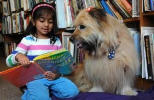 Photo of girl reading to a dog