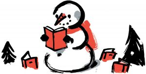 Drawing of a snowman reading a book