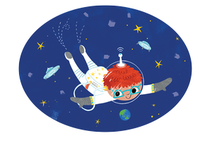 Cartoon of child in space